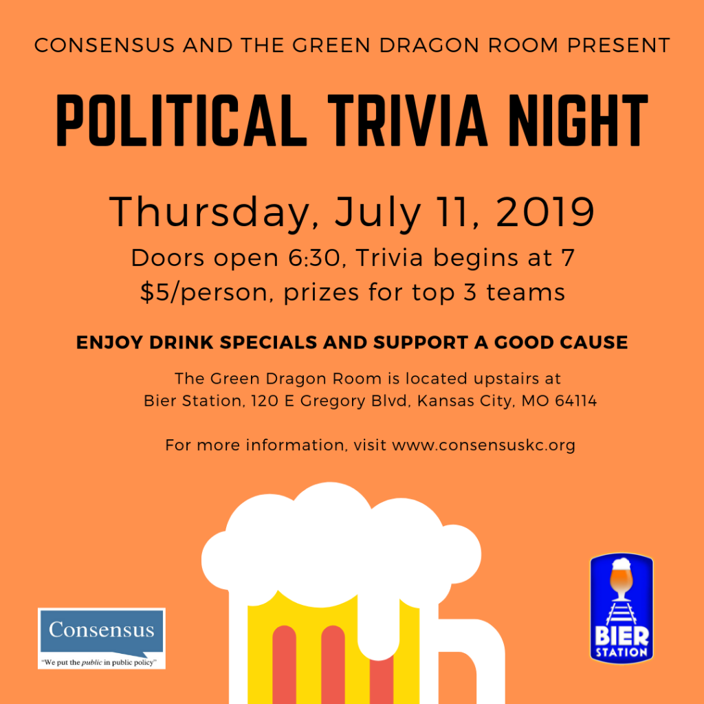 Political Trivia Night July 11, 2019 at the Green Dragon Room at the Bier Station